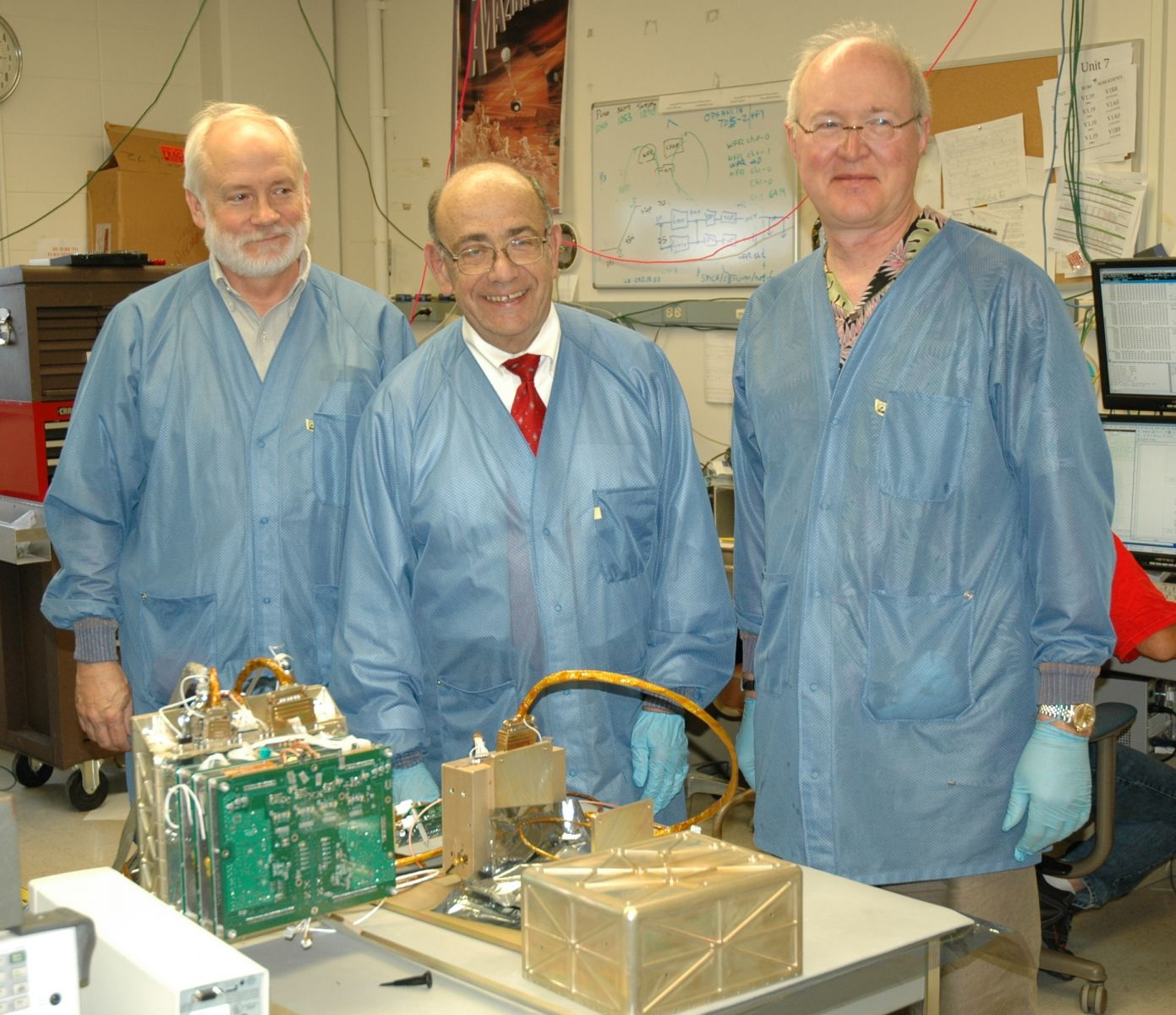 Physics researchers in lab