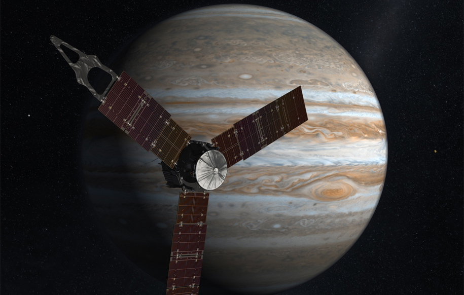 Jupiter with Juno spacecraft in front