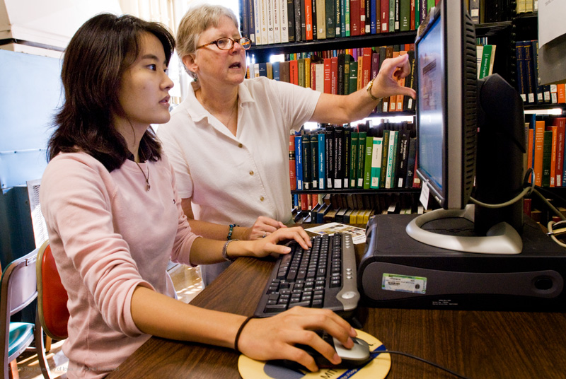Researchers working together on the computer