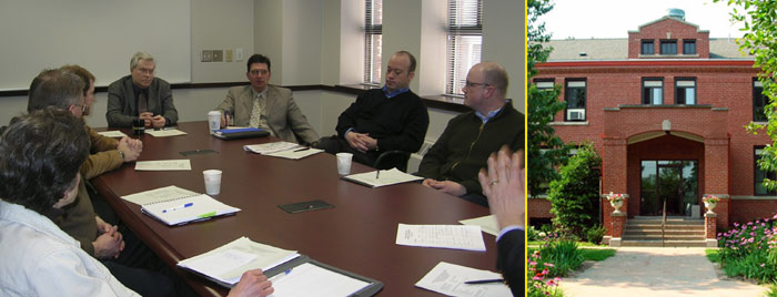 University officials meeting and the Technology innovation building