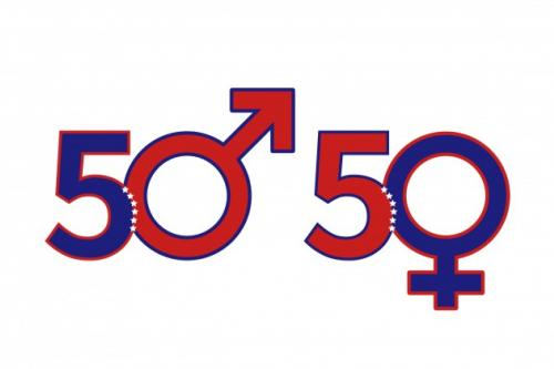 illustration of male and femail icons incorporated into the text 50 | 50