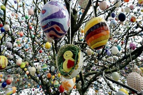 Decorated Easter eggs hanging in a tree