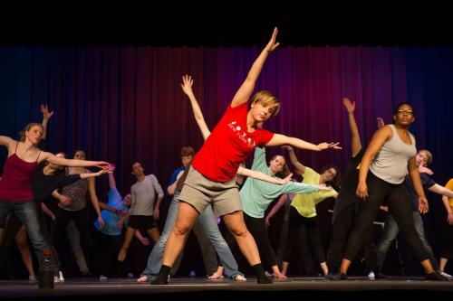 An Iowa dancer leads a class for community college students in Ottumwa.