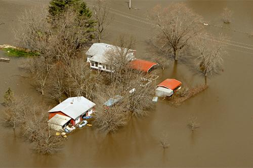 Aerial photo of flooding farm in Midwest.