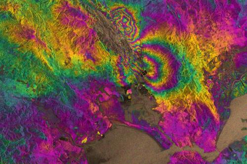 GPS and inSAR composite map of Napa earthquake