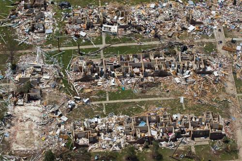 A 2011 tornado that ravaged Tuscaloosa, Alabama (shown in this aerial photo), may have owed some of its destructive power to particles of smoke that traveled more than a thousand miles from fires set in Central America.