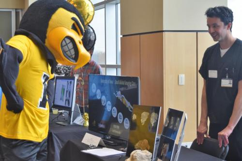 Herky at Research Services Fair